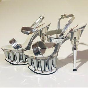 Pleaser SPIKY 617 platform mirror heels silver